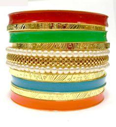 Wholesale 18K Gold Plated Multi Color Enamel Metal Fashion Bracelet Set with Pearl Bangle. Unique Designs Women Bracelet $6.00