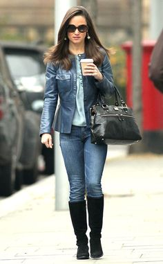 Pippa Middleton is chic in a blue leather jacket and suede boots for her morning coffee with Hot Pepper Dave.
