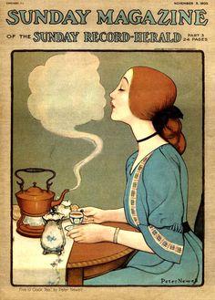 """Five o'clock Tea - by Edward Newell"" - Cover of The Sunday Magazine - November 5, 1905 -- (edwardian era)"