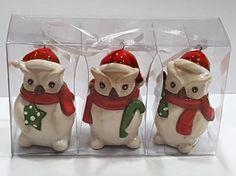 3 er Set Porzellan Hänger Eule Weihnachten Advent Baumhänger Xmas Deko