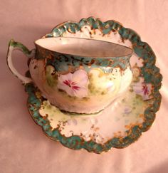Antique-1800s-Eggshell-Porcelain-Turquoise-Unmarked-Tea-Cup-and-Saucer-Pansies
