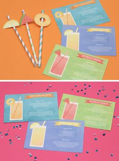 Cocktail Card & Fruit Drink Flags
