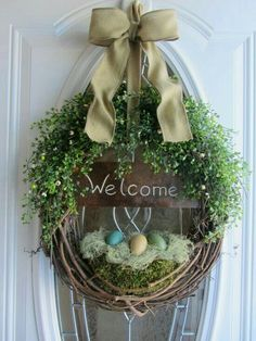 #wreath #spring #egg #green #welcome
