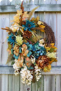 Autumn Beauty Green Teal gold Ivory brown XXL Fall Wreath, by IrishGirlsWreaths, $179.99