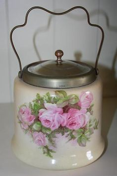 "Beautyful Antique Biscuit barrel / jar 1900's ***Hand painted roses.  Signed/ Marked ""Bristolia English Made""  Silver plated EPNS   299.00"