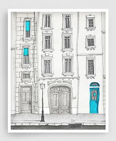 The magic door (vertical) - Paris illustration Fine art illustration Poster Paris art Home decor Large wall art Blue Turquoise - SALE Paris illustration The magic door vertical version by tubidu Art And Illustration, Illustration Parisienne, Illustrations Posters, Art Parisien, Art Bleu, Grand Art, Fine Art Posters, Paris Decor, Kunst Poster