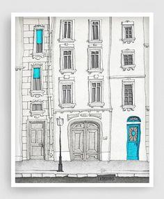The magic door vertical Paris illustration Fine art di tubidu