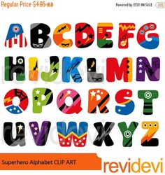 Alphabet Clipart Set Featuring Superhero ABC A Super Cool Collection For Kids Theme Projects