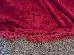 Vintage Red CRUSHED VELVET BEDSPREAD w/ Fringe by AngieFoundit4U