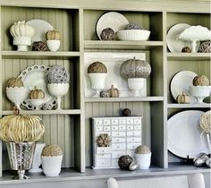 LOVE the milk/mercury glass collection...not to mention all the pumpkins!