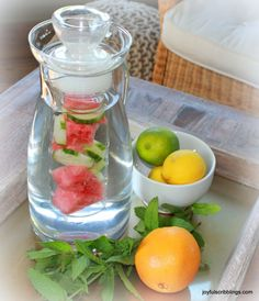 10 Infused Water Recipes | JOYFUL scribblings I got hooked on infused water in Key West. Definitely need to start making some.