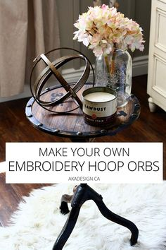 Easy and inexpensive to make, these embroidery hoop orbs add a slightly industrial edge to a pretty vignette. Mason Jar Crafts, Mason Jar Diy, Diy Hanging Shelves, Toilet Paper Roll Crafts, Do It Yourself Home, Valentines Diy, Dollar Stores, Decorating Tips, Diy Home Decor