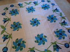 Aqua and Blue Pinwheel with Vines Hand by VAMountainQuilts on Etsy, $75.00