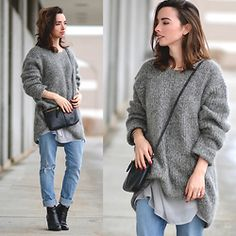 Carissa G. - Fossil Purse, Levi's® Denim, Dolce Vita Ankle Boots, Dkny Sweater - Rainy Day Grey