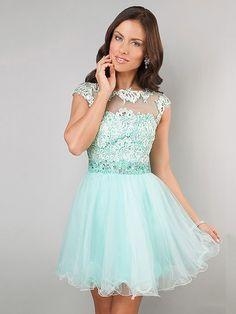 Scoop Neck Light Sky Blue Tulle Appliques Lace Cap Straps Short/Mini Online Prom Dress #02042343