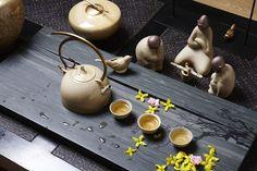 New Chinese style tea room,The tea ceremony,Tea table,Tea service portfolio,ceramic,Cast iron,stone,新中式 日式 茶室 茶道 茶几 茶具组合 陶瓷 铸铁 石