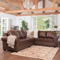 Shop for Christopher Knight Home Martha 3-piece Brown Leather Sectional Sofa…