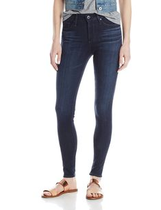 AG Adriano Goldschmied Women's Farrah Skinny Jean, Brooks, 32. Skinny jegging with dark wash featuring whiskering and fading. Five-pocket styling. Zip fly with button.