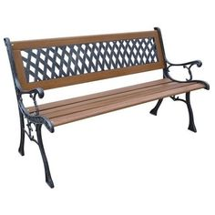 DC Cast Iron and Wood Flat Back Park Bench, Patio Furniture