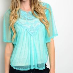 ️Teal Batwing Top This adorable batwing top is 87% nylon, 13%spandex. Hand Wash Only. Made in the USA. Available in sizes S, M,L if you don't see a listing in your size please ask and I would be happy to create a listing for you. Tops Blouses