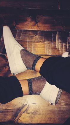 White slip on vans w/ sparkly socks
