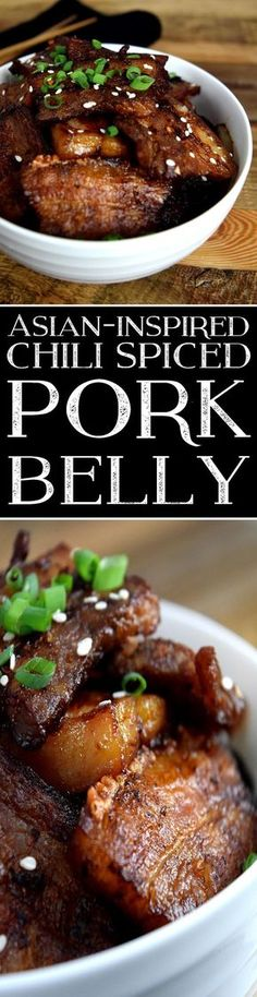 Asian Inspired Chili Spiced Pork Belly www. - Asian Inspired Chili Spiced Pork Belly www. Pork Belly Recipes, Meat Recipes, Asian Recipes, Cooking Recipes, Hawaiian Recipes, Cooking Pork, Chili Spices, Kebab, Chicharrones