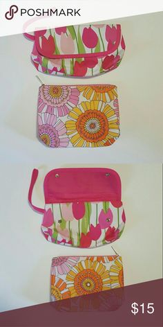 "Clinique Floral Makeup Bag Bundle So pretty! Both brand new. The top one has a snap closure.  The tulip one measures about 10"" x 5 1/2"". The retro flower one is about 9 1/4"" x 7"" Clinique Bags Cosmetic Bags & Cases"