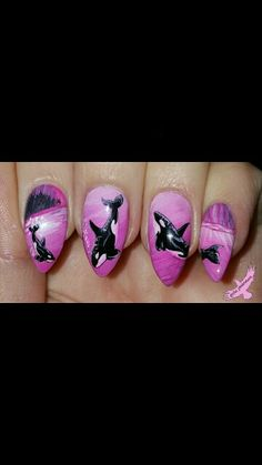Hand painted nail art free hand Valentines nails pink nails Orca killer whales Alaska. The pink Raven @customs_by_christy