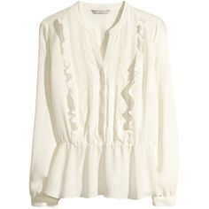H&M Frilled blouse ($14) ❤ liked on Polyvore featuring tops, blouses, natural white, embellished blouses, white long sleeve top, white frilly blouse, white ruffle top and long sleeve tops
