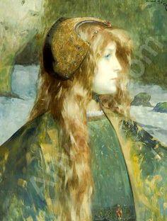 Jeune femme rousse de profil, Watercolor and gouache