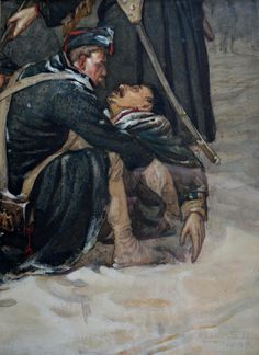 Robert Gibb, 'The Fallen Commerade' It's striking how some of most tender images of men embracing are in war Thanks Male Friendship, Crimean War, Man Images, Napoleonic Wars, See Picture, Battle, Fall, Artwork, Collage