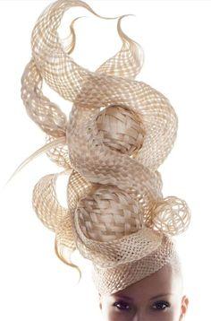 Sculptural Headpiece made of hair, with elaborate 3D basket weave construction - avant garde hair art // Chris Vandehey