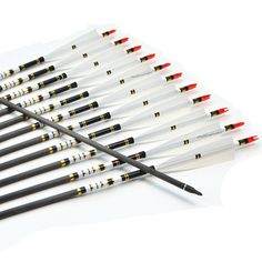 """56.76$  Watch here - http://ali33i.worldwells.pw/go.php?t=32687401648 - """"12pcs 31"""""""" Carbon Arrow Target Arrow with White Turkey Feathers for Archery Hunting"""" 56.76$"""