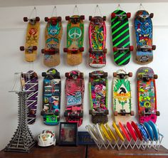 Ryan Humphrey's vintage 80's skateboard collection. He has a