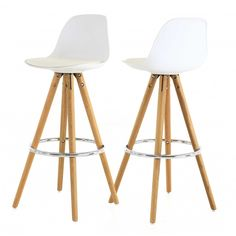 Chaise haute de bar blanche trépied en bois style scandinave | Zago Store