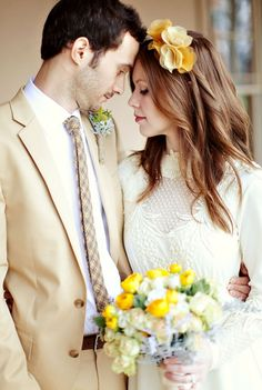 tan suit, yellow flowers, lace = IN LOVE WITH THIS THEME... Just not with that dress!! And lighter tan suit.. PERFECT!