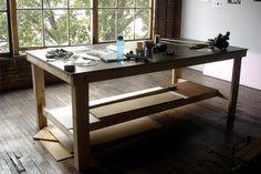 Long industrial work table