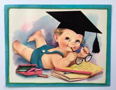 Super Cute Vintage 7.5x9.5 Oversized Greeting by StorybookSalvage
