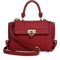Salvatore Ferragamo Mini Sofia Leather Satchel ($2,035) ❤ liked on Polyvore featuring bags, handbags, purses, apparel & accessories, red, satchel handbags, red handbags, leather purses, red purse and red satchel handbag