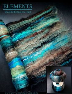 ELEMENTS: Hand-carded Batt for Spinning/Felting - Wool/Silk/Bamboo                                                                                                                                                                                 More