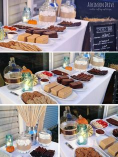 rustic outdoor smores bar. love the candles on the table..minus the pumpkins