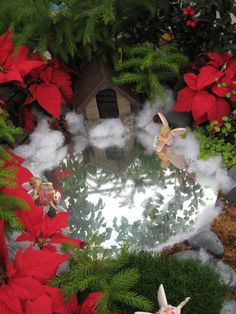 winter fairy garden, use a small piece of mirror to reflect lights and make it look like a frozen pond.