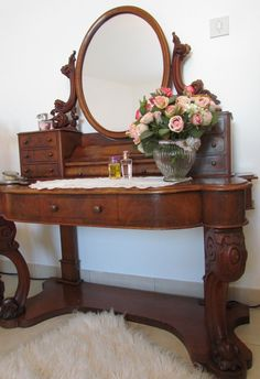 """ said Darcy as he kissed her neck slowly. ""Now I need you to help me shift this mirror. I intend to put it on the floor and perhaps I had better face the glass towards the wall."" This pic - dresser with mirror on stand Vintage Dressing Tables, Dressing Table Vanity, Antique Vanity, Vintage Vanity, Dresser Sets, Dressers, Antique Furniture, Furniture Sets, Shabby Chic Vanity"