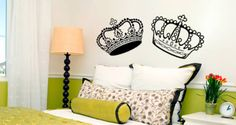 A crown affair decal includes: 2 crowns Cute Queen and King Crown wall decals to go above your bed...  For those who don't want a classic headboard frame. Be the Queen and the King at least at night with this decal With this crown decal, you will bring some royal instant into your house. You can separate each crown and apply them as you wish.