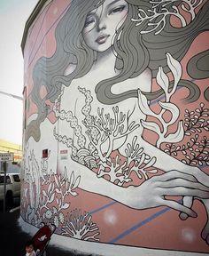 "Hawaii art bucket list ~ Audrey Kawasaki (@audkawa) on Instagram: ""One year anniversary since my 'The Siren' for PowWow Hawaii @powwowworldwide in Honolulu, Hawaii. .…"""