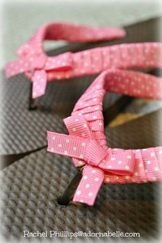 How to Decorate Your Own Flip Flops – Adornabelle - dradurn. Flip Flop Craft, Kids Flip Flops, Beach Flip Flops, Flip Flop Shoes, Flip Flops Diy, Ribbon Flip Flops, How To Tie Shoes, Decorating Flip Flops, Decorated Shoes