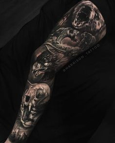 Realistic dark tattoo with motifs of gorilla bears eagle and skull