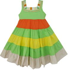 Girls Dress Striped Green Emboridered Beach Sundress Kids Clothes SZ 12-8 Y NWT