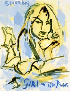 Sef Berkers. STARRING paintings. Girl on the Phone, 2020, 65 x 50 cm / 25.5 x 19.5 in. Oil on paper. Private collection, Venlo, The Netherlands. Star Painting, Film Images, Human Condition, Film Posters, Films, Movies, Cinema, Scene, Paintings