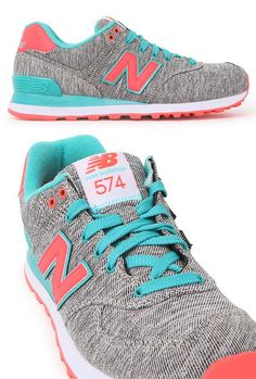 New Balance in Grey, Aqua, and Coral #NB #NewBalance #sneakers